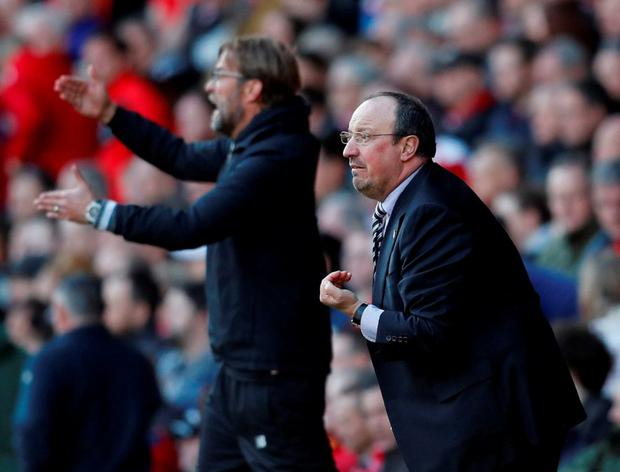 Newcastle manager Rafael Benitez and Liverpool manager Juergen Klopp. Photo: Phil Noble/Reuters
