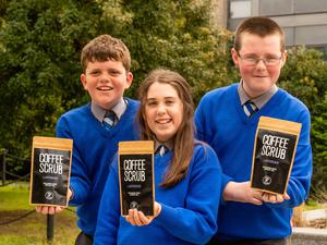 From left to right: Sean Shefflin, Emma Connolly and Christopher Ging of Scoil Phadraig, Ballyhale, Co Kilkenny, with their Coffee Scrub product. Photo: Jerry Kennelly