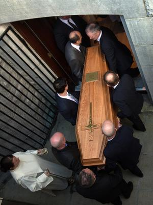 The coffin of Bishop Eamonn Casey is taken to the crypt at the Cathedral of Our Lady Assumed into Heaven and St. Nicholas in Galway during his funeral. Photo: Tony Gavin