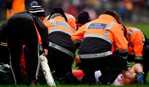 Cathal McShane of Tyrone receives medical treatment
