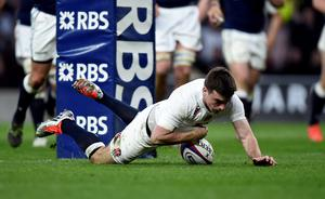 England's George Ford dives in to score a try during the RBS 6 Nations match at Twickenham, London. PRESS ASSOCIATION Photo. Picture date: Saturday March 14, 2015. See PA Story RUGBYU England. Photo credit should read: Andrew Matthews/PA Wire.