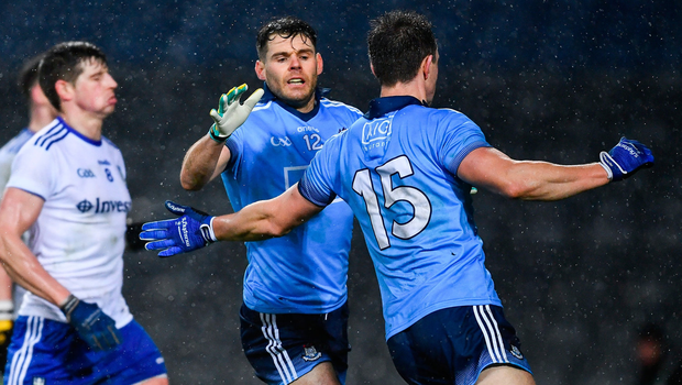 Dublin's Kevin McManamon celebrates with Dean Rock after scoring his late goal in Saturday night's draw with Monaghan in Croke Park. Photo by Ray McManus/Sportsfile