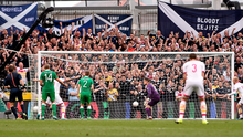 Shay Given looks on as Scotland's Shaun Maloney scores his side's equalising goal.
