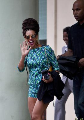 Beyonce greets her fans as she leaves Hotel Saratoga in Old Havana, Cuba, Friday
