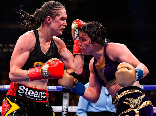 Katie Taylor (right) in action against Delfine Persoon. Photo: Sportsfile