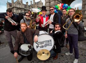 Stomptown Brass Band with Aonghus McAnally preform in Trinity College, Dublin. Part of the Culture Night 2015 and comprises with hundreds of events across Ireland and overseas.Picture by Fergal Phillips