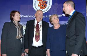 Garda Commissioner Nóirín O'Sullivan, AGSI general secretary Denis Ferry, Minister Frances Fitzgerald and AGSI president Gerry Smith at the AGSI conference in Co Kildare