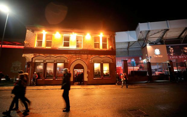 A view of The Albert pub on Walton Breck Road after the UEFA Champions League, Semi Final First Leg match at Anfield, Liverpool. PictureL Peter Byrne/PA Wire