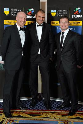 Former Leinster and Ireland player Denis Hickie, left, Omar Hassanein, Chief Executive IRUPA, and Leinster's Brian O'Driscoll in attendance at the Hibernia College IRUPA Rugby Player Awards 2013. Burlington Hotel, Dublin. Picture credit: Brendan Moran / SPORTSFILE