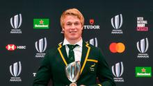 World Rugby Mens 15s Player of the Year award winner Pieter-Steph du Toit of South Africa poses with the trophy following the World Rugby Awards 2019 ceremony in Tokyo on November 3, 2019. (Photo by Kazuhiro NOGI / AFP) (Photo by KAZUHIRO NOGI/AFP via Getty Images)