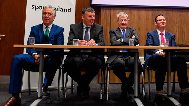 Happier times: Former FAI CEO John Delaney, IRFU CEO Philip Browne, former GAA director general Páraic Duffy and former Minister of State for Tourism and Sport Patrick O'Donovan at Sport Ireland's investment announcement in 2016. Photo: Sportsfile