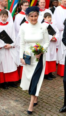 Sophie, Countess of Wessex departs the Commonwealth Day Service 2020 at Westminster Abbey on March 09, 2020 in London, England