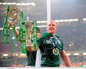 21 March 2009; Ireland's Paul O'Connell, right, and Donncha O'Callaghan celebrate with the RBS Six Nations Championship trophy and Triple Crown. RBS Six Nations Championship, Wales v Ireland, Millennium Stadium, Cardiff, Wales. Picture credit: Stephen McCarthy / SPORTSFILE