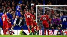 Unmarked Branislav Ivanovic rises highest to score for Chelsea against Liverpool early in extra-time in their Capital One Cup semi-final clash at Stamford Bridge. Photo: Mike Hewitt/Getty Images