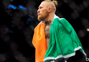 Conor McGregor after his feather weight bout victory over Dustin Poirier in Las Vegas