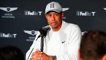 Tiger Woods speaks during a press conference at the Genesis Invitational - Preview Day 2 in Pacific Palisades, California. Photo: Joe Scarnici/Getty Images