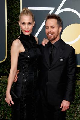 BEVERLY HILLS, CA - JANUARY 07:  Sam Rockwell and Leslie Bibb attend The 75th Annual Golden Globe Awards at The Beverly Hilton Hotel on January 7, 2018 in Beverly Hills, California.  (Photo by Frederick M. Brown/Getty Images)