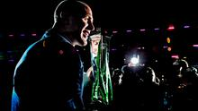 Paul O'Connell with the Six Nations trophy in Murrayfield in March. Picture credit: Brendan Moran / SPORTSFILE