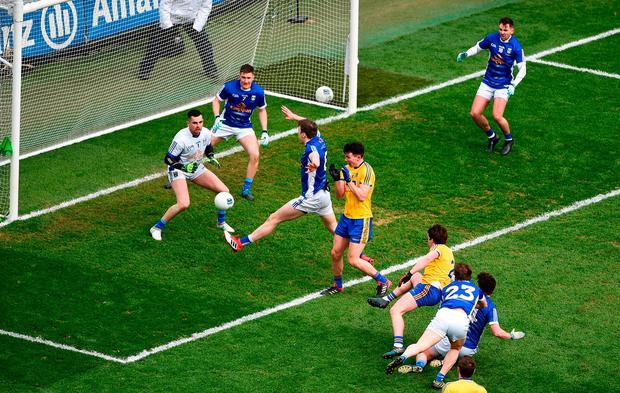 David Murray puts away Roscommon's second goal. Photo: Daire Brennan/Sportsfile