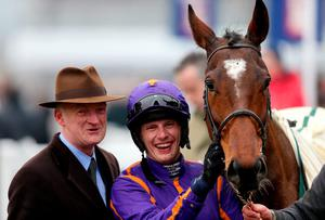 Wicklow Brave ridden by jockey Paul Townend and trainer Willie Mullins after winning the Vincent O'Brien County Handicap Hurdle on Gold Cup Day.
