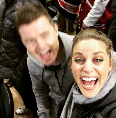 Brian O'Driscoll and Amy Huberman at a New York Rangers game. Picture: Instagram