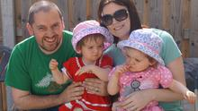 Inventor Paddy Healy (37) with his wife Susan and twin daughters