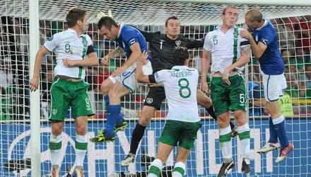 18 June 2012; Antonio Cassano, left, and Giorgio Chiellini, Italy, in action against Republic of Ireland's, from left, Kevin Doyle, Shay Given, Keith Andrews and Richard Dunne. EURO2012, Group C, Republic of Ireland v Italy, Municipal Stadium Poznan, Poznan, Poland. Picture credit: Brendan Moran / SPORTSFILE