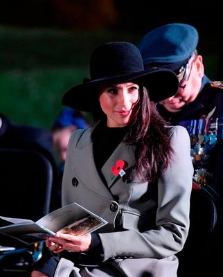 Meghan Markle, fiancee of Prince Harry, attends the Dawn Service at Wellington Arch to commemorate Anzac Day in London