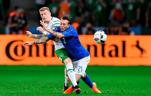 22 June 2016; James McClean of Republic of Ireland in action against Federico Bernardeschi of Italy during the UEFA Euro 2016 Group E match between Italy and Republic of Ireland at Stade Pierre-Mauroy in Lille, France. Photo by Stephen McCarthy / Sportsfile
