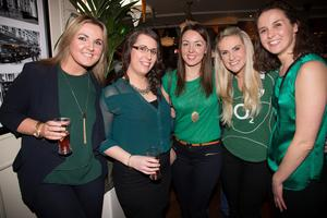 Grace Lanigan, Linda Sherry, Ciara Lanigan, Michelle Dooley and Ruth Acheson from Clondalkin watch the Wales v Ireland rugby match at Searsons, Baggott Street yesterday. Photo: Tony Gavin 14/3/2015