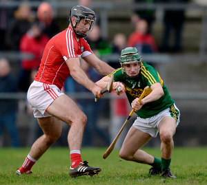 Jordan Conway of Kerry in action against Christopher Joyce of Cork during the Co-Op Superstores Munster Senior Hurling League First Round match. Photo: Eóin Noonan/Sportsfile