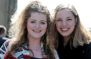 Keelin McGinn, Dungarvan, Co Waterford (left) and Femke Hendriks,who travelled from Amtersdam in Holland who auditioned for X Factor at Croke Park yesterday.Pic Tom Burke 8/4/2015