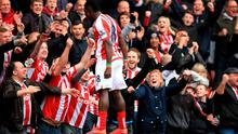 Stoke City's Mame Diouf celebrates scoring their third goal at the Britannia Stadium