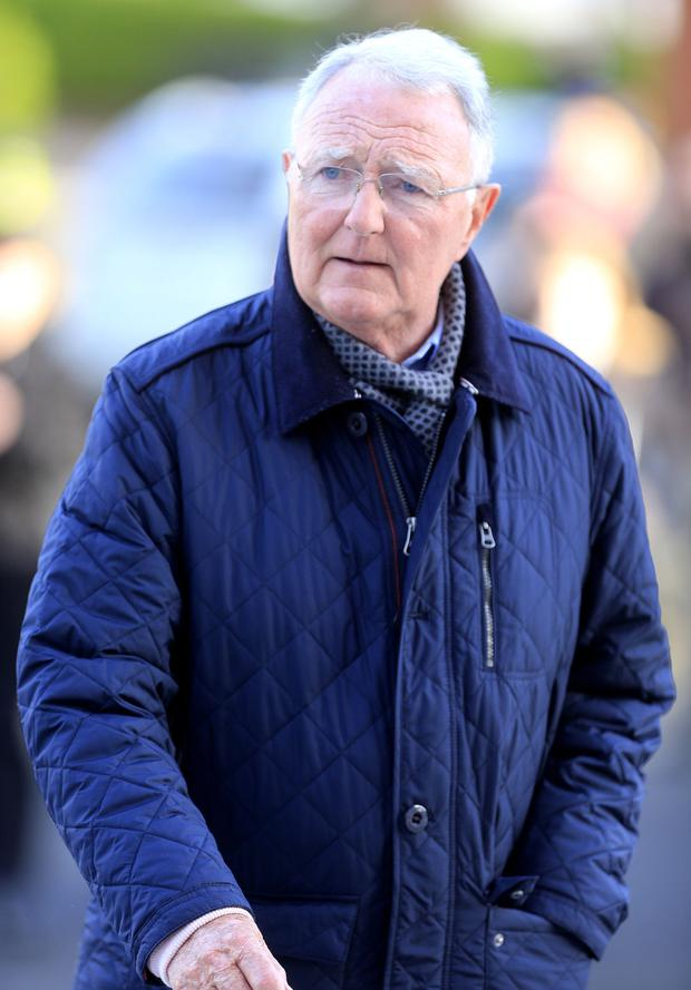 Mike Murphy arrives for the Larry Gogan funeral mass in Templeogue. Picture; Gerry Mooney