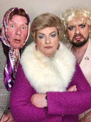 Jim as Dot Cotton, Veronica as Pat Butcher and James as Peggy Mitchell in one of the EastEnders takeoffs