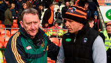Offaly manager Pat Flanagan and Armagh boss Kieran McGeeney shake hands after Sunday's encounter. Photo: Philip Fitzpatrick/Sportsfile