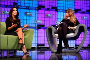 Hollywood actress Eva Longoria speaking to Jemima Khan at the Web Summit at the RDS