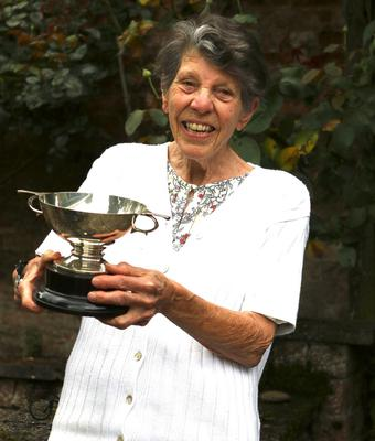 Sue Peard with the All England Trophy she won outright after taking four doubles titles with her sister Judy Hashman