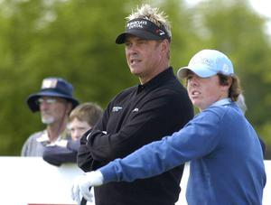 Rory McIlroy with Darren Clarke on the third tee box during practice in advance of the Nissan Irish Open Golf Championship. Carton House Golf Club, Maynooth, Co. Kildare on May 17, 2005. Photo: Matt Browne/Sportsfile