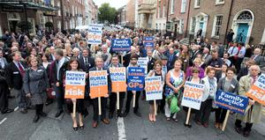 GPs (as part of NAGP/ National Association of General Practitioners) outside Leinster House. Picture Andres Poveda