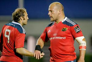 BJ Botha, Munster, shakes hands with teammate Duncan Williams after the game. Roberto Bregani / SPORTSFILE