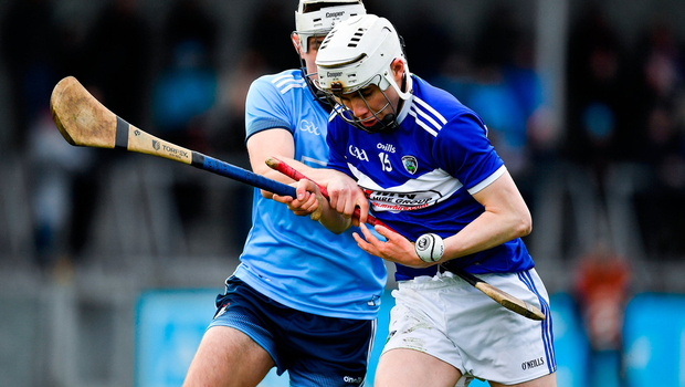 Stephen Bergin of Laois in action against Andrew Dunphy of Dublin. Photo by Brendan Moran/Sportsfile