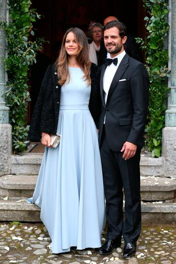 Prince Carl Philip of Sweden and his wife Princess Sofia of Sweden during the wedding of Prince Konstantin of Bavaria and Deniz Kaya at the french church 'Eglise au Bois' on September 1, 2018 in St Moritz, Switzerland. (Photo by Gisela Schober/Getty Images)