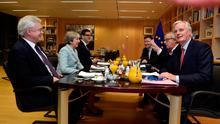 Britain's Secretary of State for Exiting the European Union David Davis, Britain's Prime Minister Theresa May, European Commission President Jean-Claude Juncker and European Union's chief Brexit negotiator Michel Barnier meet at the European Commission in Brussels, Belgium, December 8, 2017. REUTERS/Eric Vidal