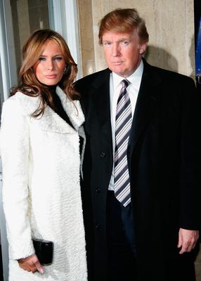 "Donald Trump and Melania Trump arrive at the opening night of her new musical ""Under The Bridge"" on January 6, 2005 at The Zipper Theatre in New York City. (Photo by Evan Agostini/Getty Images)"