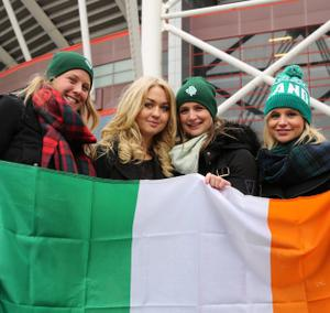 Niamh Horan with Kate Burke Wales Louisa Hamell Dublin Michelle Barry Dublin in Cardiff ahead of the RBS Six Nations Rugby Championship clash between Wales and Ireland at the Millennium Stadium, Cardiff. Picture By Mark Mc Conville