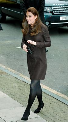 January 2015: Kate's silk brown Hobbs dress was a hit.