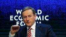 Taoiseach Enda Kenny speaks at the Europe's Twin Challenges: Growth and Stability event in the Swiss mountain resort of Davos January 22, 2015.