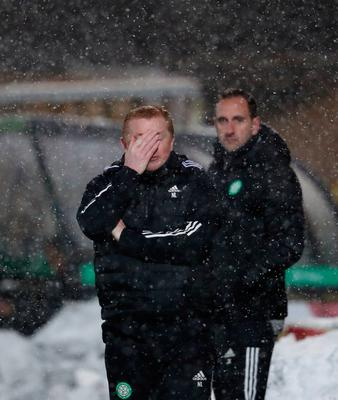 Celtic manager Neil Lennon during the Scottish Premiership match at the Toni Macaroni Arena, Livingston. Picture date: Wednesday January 20, 2021. PA Photo. See PA story SOCCER Livingston. Photo credit should read: Andrew Milligan/PA Wire.   RESTRICTIONS: Use subject to restrictions. Editorial use only, no commercial use without prior consent from rights holder.