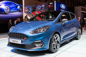The New Ford Fiesta ST is presented during the press day at the 87th Geneva International Motor Show in Geneva, Switzerland, Tuesday, March 7, 2017. The Motor Show will open its gates to the public from March 9 to 19. (Cyril Zingaro/Keystone via AP)